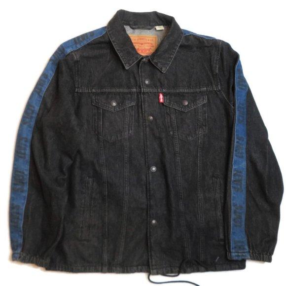 Levis Mens XL Big E Trucker Jacket Dark Denim Chore Jean Cinch Sleeve Spell Out
